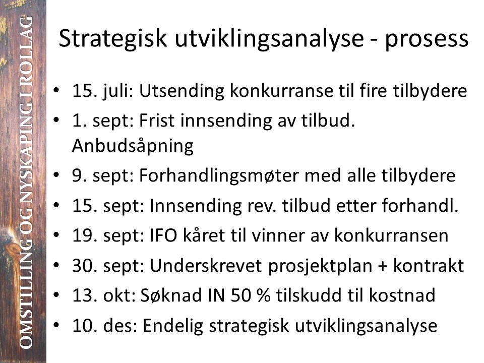 Strategisk utviklingsanalyse - prosess • 15. juli: Utsending konkurranse til fire tilbydere • 1. sept: Frist innsending av tilbud. Anbudsåpning • 9. s