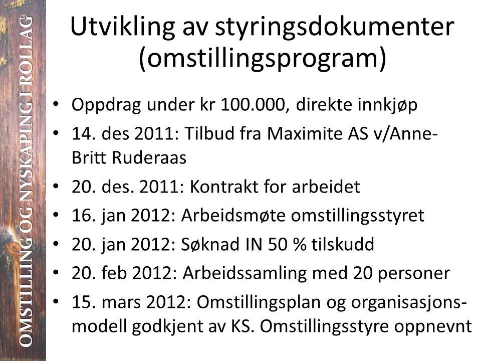 Utvikling av styringsdokumenter (omstillingsprogram) • Oppdrag under kr 100.000, direkte innkjøp • 14. des 2011: Tilbud fra Maximite AS v/Anne- Britt