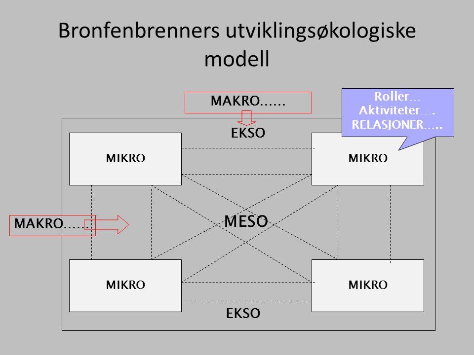 Bronfenbrenners utviklingsøkologiske modell MIKRO MESO EKSO MAKRO…… Roller… Aktiviteter…. RELASJONER…..