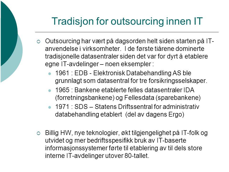 Tradisjon for outsourcing innen IT  Siden har Outsourcing stadig vært på dagsorden , men pendlet sterkt i popularitet ut fra både den teknologisk og økonomiske rammevilkår.