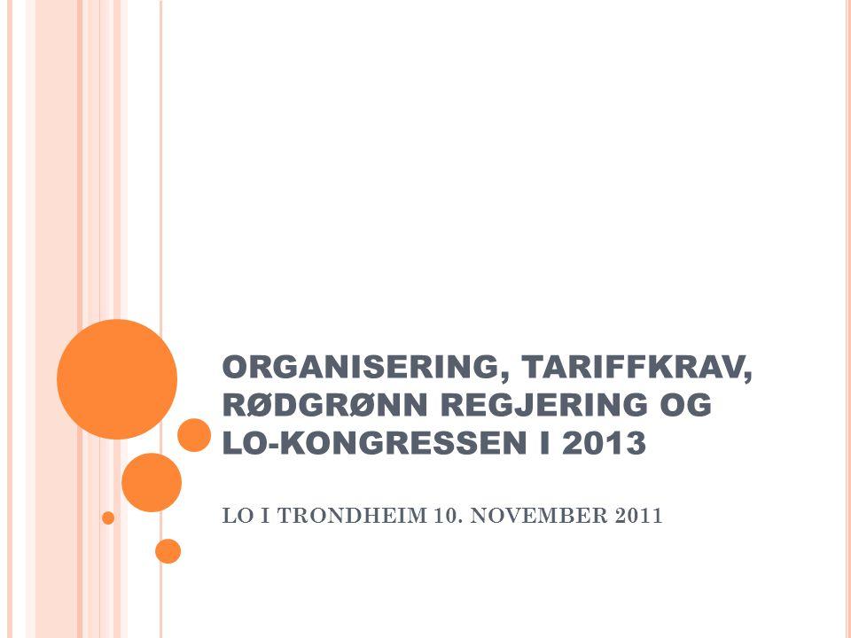 ORGANISERING, TARIFFKRAV, RØDGRØNN REGJERING OG LO-KONGRESSEN I 2013 LO I TRONDHEIM 10.