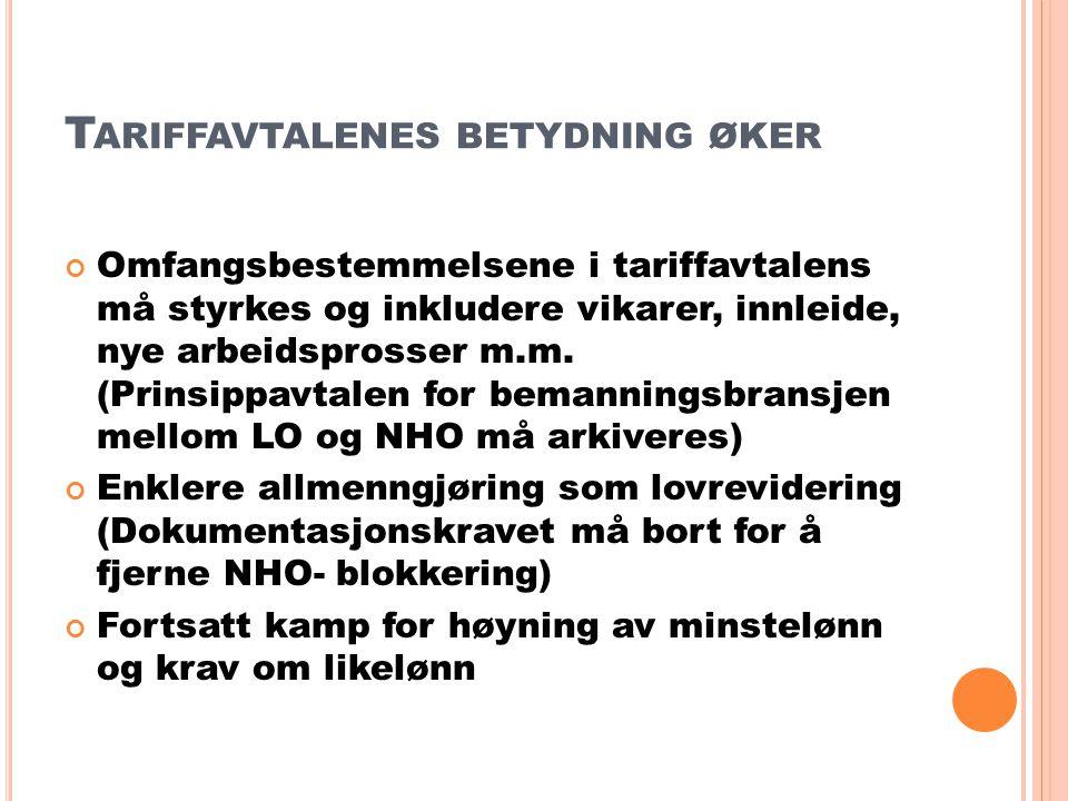 T ARIFFAVTALENES BETYDNING ØKER Omfangsbestemmelsene i tariffavtalens må styrkes og inkludere vikarer, innleide, nye arbeidsprosser m.m.