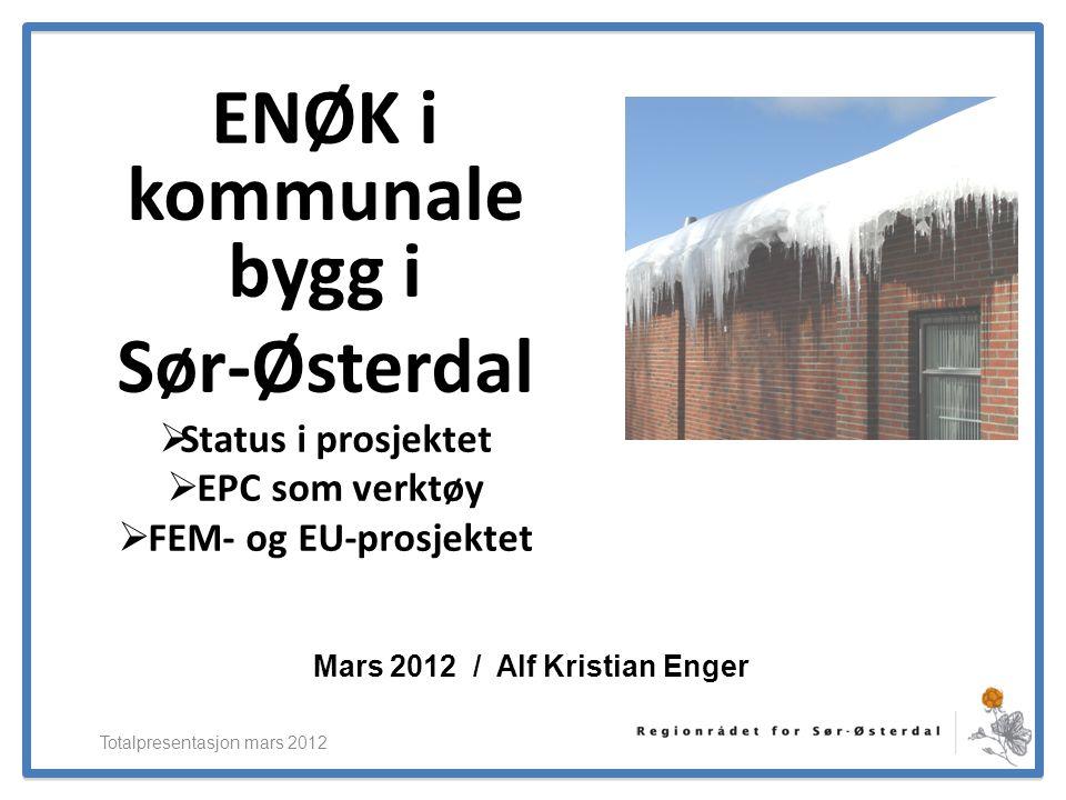 ElverumRegionens NæringsUtvikling ENØK i kommunale bygg i Sør-Østerdal  Status i prosjektet  EPC som verktøy  FEM- og EU-prosjektet Totalpresentasj
