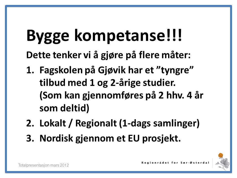 """ElverumRegionens NæringsUtvikling Bygge kompetanse!!! Dette tenker vi å gjøre på flere måter: 1.Fagskolen på Gjøvik har et """"tyngre"""" tilbud med 1 og 2-"""