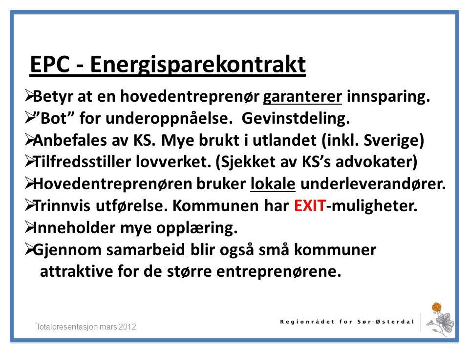 """ElverumRegionens NæringsUtvikling EPC - Energisparekontrakt Totalpresentasjon mars 2012  Betyr at en hovedentreprenør garanterer innsparing.  """"Bot"""""""