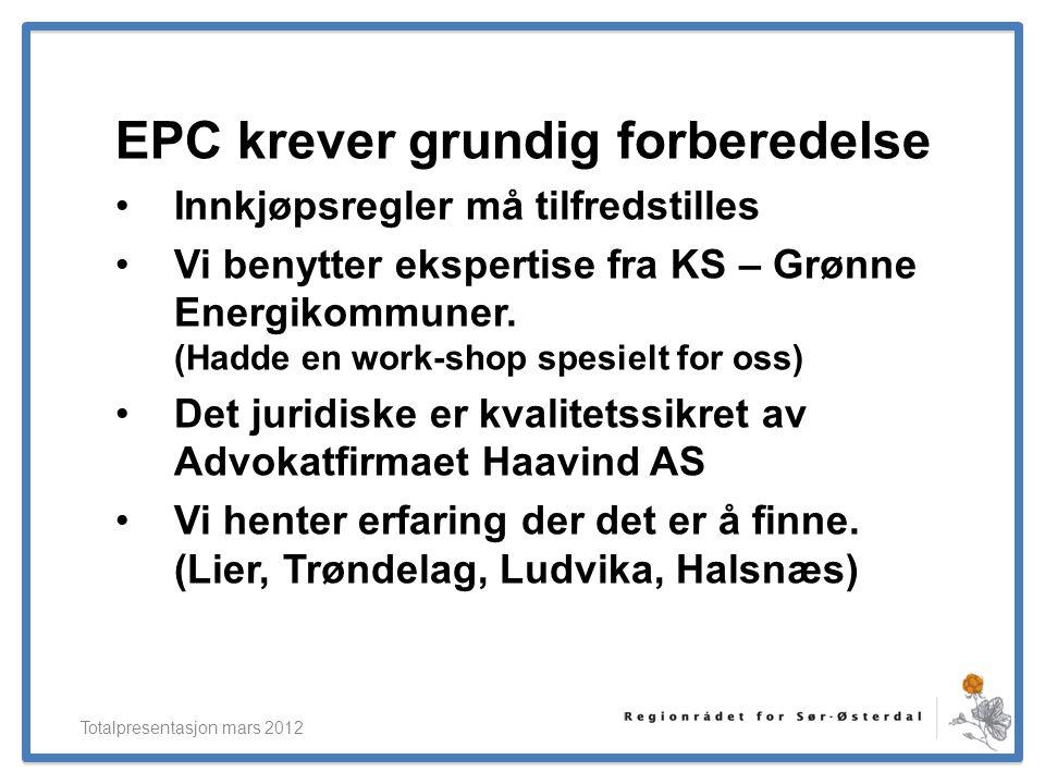 ElverumRegionens NæringsUtvikling EPC krever grundig forberedelse •Innkjøpsregler må tilfredstilles •Vi benytter ekspertise fra KS – Grønne Energikomm