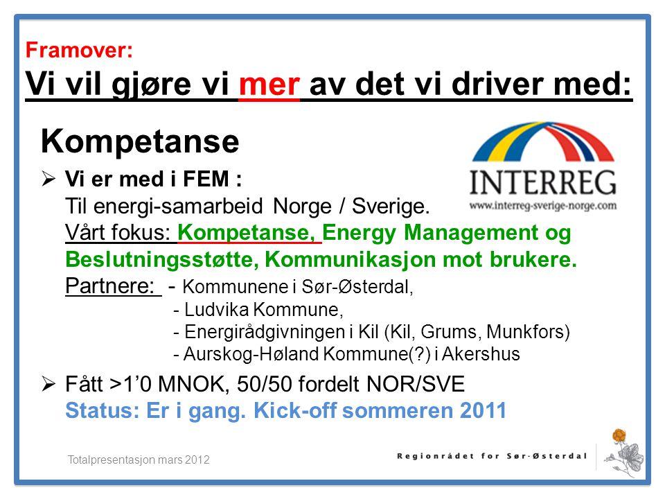 ElverumRegionens NæringsUtvikling Framover: Vi vil gjøre vi mer av det vi driver med: Kompetanse  Vi er med i FEM : Til energi-samarbeid Norge / Sver