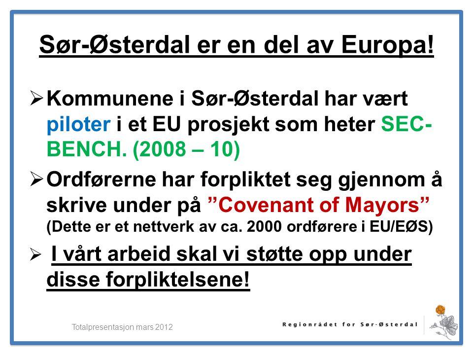 ElverumRegionens NæringsUtvikling Sør-Østerdal er en del av Europa!  Kommunene i Sør-Østerdal har vært piloter i et EU prosjekt som heter SEC- BENCH.