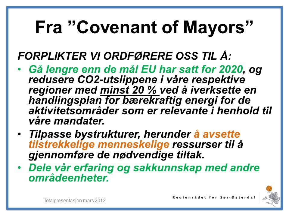"""ElverumRegionens NæringsUtvikling Fra """"Covenant of Mayors"""" FORPLIKTER VI ORDFØRERE OSS TIL Å: •Gå lengre enn de mål EU har satt for 2020, og redusere"""