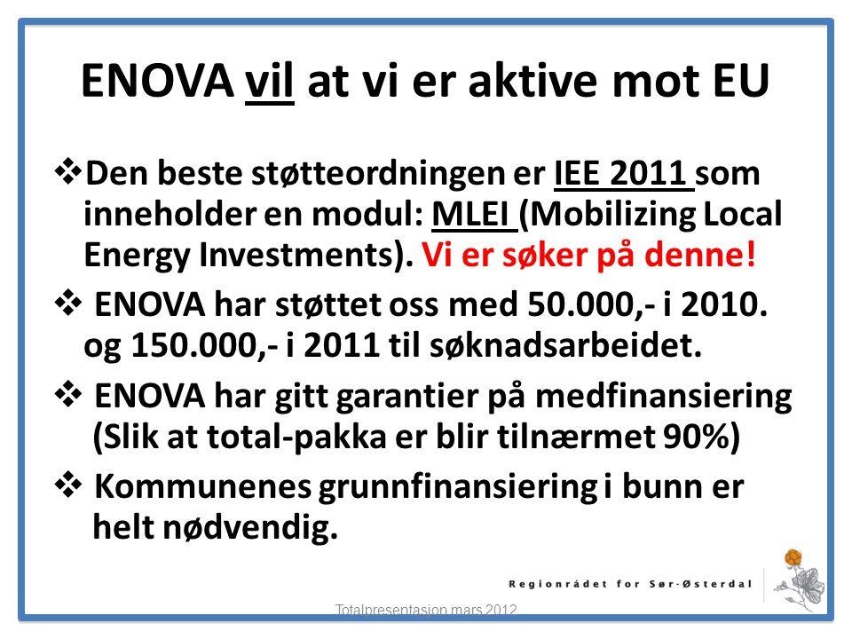 ElverumRegionens NæringsUtvikling ENOVA vil at vi er aktive mot EU  Den beste støtteordningen er IEE 2011 som inneholder en modul: MLEI (Mobilizing L