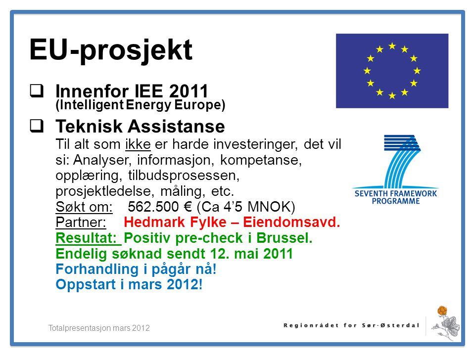 ElverumRegionens NæringsUtvikling EU-prosjekt  Innenfor IEE 2011 (Intelligent Energy Europe)  Teknisk Assistanse Til alt som ikke er harde investeri