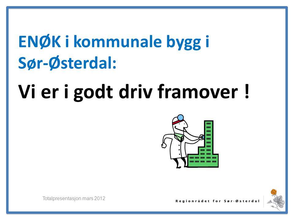 ElverumRegionens NæringsUtvikling ENØK i kommunale bygg i Sør-Østerdal: Vi er i godt driv framover ! Totalpresentasjon mars 2012