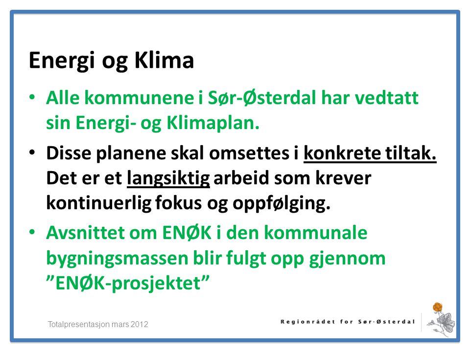 ElverumRegionens NæringsUtvikling Energi og Klima • Alle kommunene i Sør-Østerdal har vedtatt sin Energi- og Klimaplan. • Disse planene skal omsettes
