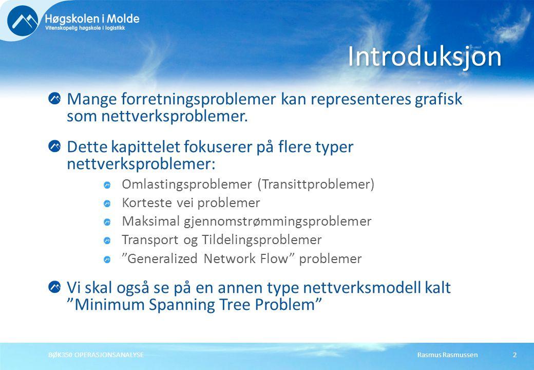 Rasmus RasmussenBØK350 OPERASJONSANALYSE33 Råmaterial -X 15 -X 16 >= -70 } node 1 (Avispapir) -X 25 -X 26 >= -50 } node 2 (Blandet papir) -X 35 -X 36 >= -30 } node 3 (Hvitt kontorpapir) -X 45 -X 46 >= -40 } node 4 (Papp) Resirkuleringsprosesser +0,9X 15 +0,8X 25 +0,95X 35 +0,75X 45 -X 57 -X 58 -X 59 >= 0 } node 5 +0,85X 16 +0,85X 26 +0,9X 36 +0,85X 46 -X 67 -X 68 -X 69 >= 0 } node 6 Cellulose papir +0,95X 57 +0,90X 67 >= 60 } node 7 (Avispapir) +0,90X 58 +0,95X 68 >= 40 } node 8 (Innpakningspapir) +0,90X 59 +0,95X 69 >= 50 } node 9 (Trykkeripapir) Definere restriksjonene