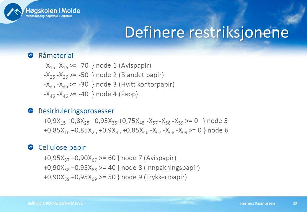 Rasmus RasmussenBØK350 OPERASJONSANALYSE33 Råmaterial -X 15 -X 16 >= -70 } node 1 (Avispapir) -X 25 -X 26 >= -50 } node 2 (Blandet papir) -X 35 -X 36
