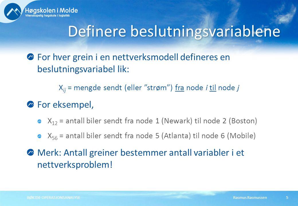 Rasmus RasmussenBØK350 OPERASJONSANALYSE26 Løse utskiftingsproblemet • En tabell for nodene • En tabell for greinene