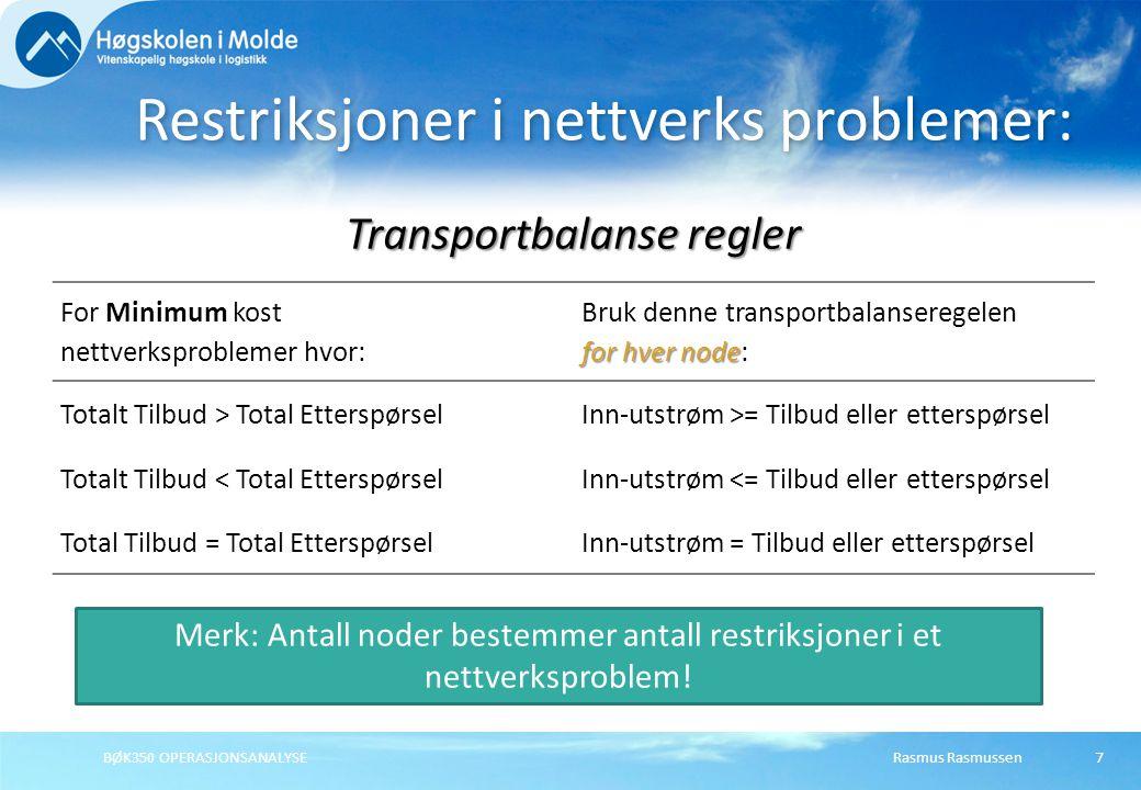Rasmus RasmussenBØK350 OPERASJONSANALYSE7 Restriksjoner i nettverks problemer: Transportbalanse regler For Minimum kost nettverksproblemer hvor: for h