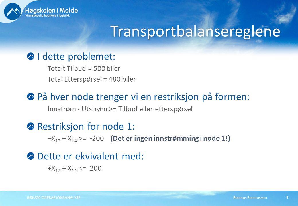 Rasmus RasmussenBØK350 OPERASJONSANALYSE9 I dette problemet: Totalt Tilbud = 500 biler Total Etterspørsel = 480 biler På hver node trenger vi en restr