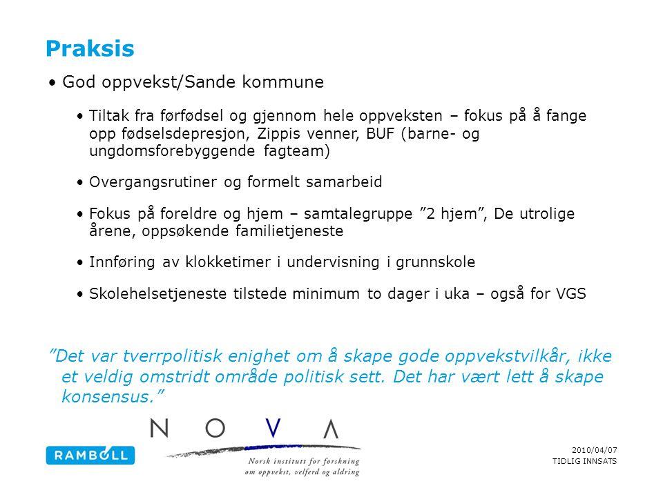 2010/04/07 TIDLIG INNSATS Praksis •God oppvekst/Sande kommune •Tiltak fra førfødsel og gjennom hele oppveksten – fokus på å fange opp fødselsdepresjon