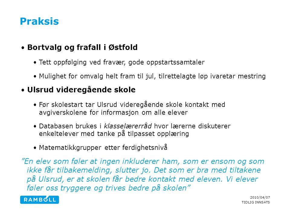 2010/04/07 TIDLIG INNSATS Praksis •Bortvalg og frafall i Østfold •Tett oppfølging ved fravær, gode oppstartssamtaler •Mulighet for omvalg helt fram ti