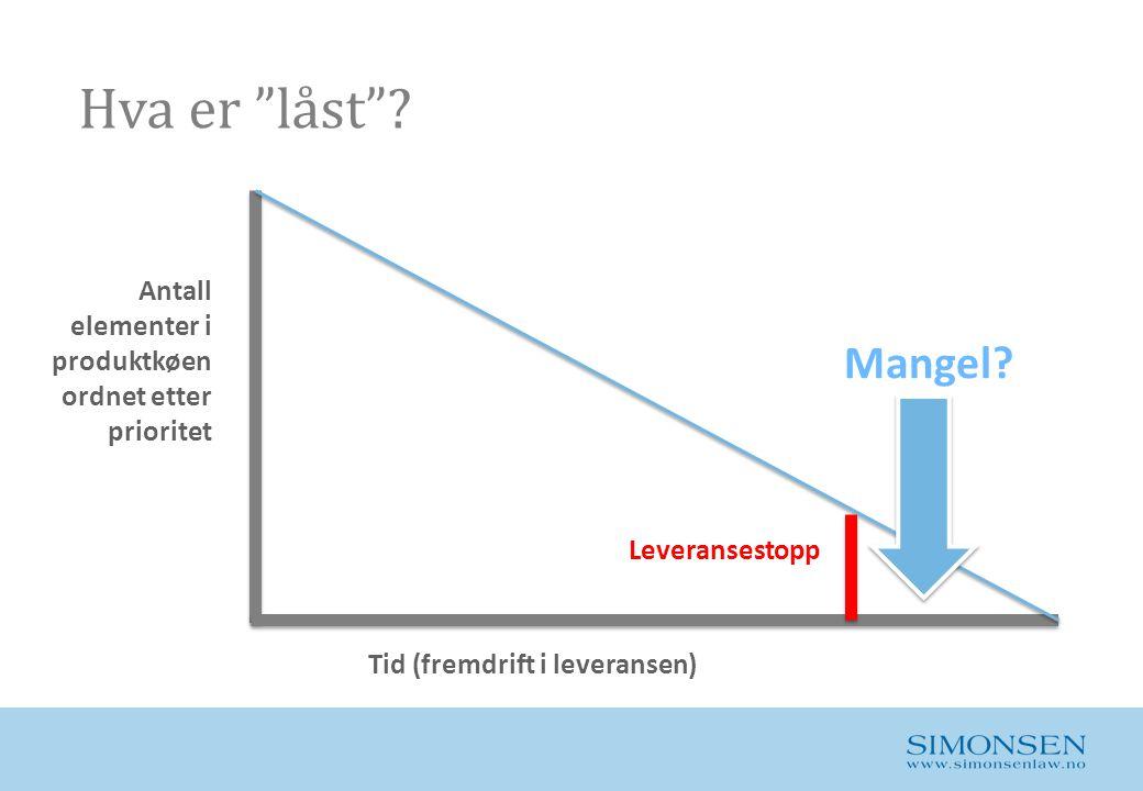 """Hva er """"låst""""? Antall elementer i produktkøen ordnet etter prioritet Tid (fremdrift i leveransen) Leveransestopp Mangel?"""