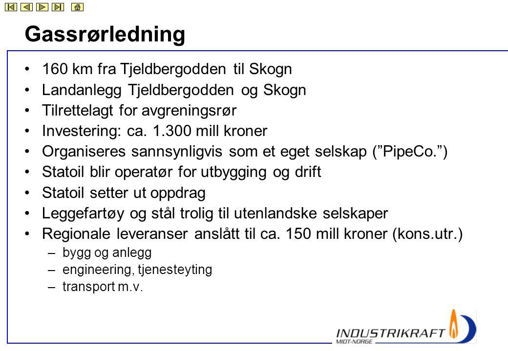Gassrørledning •160 km fra Tjeldbergodden til Skogn •Landanlegg Tjeldbergodden og Skogn •Tilrettelagt for avgreningsrør •Investering: ca. 1.300 mill k