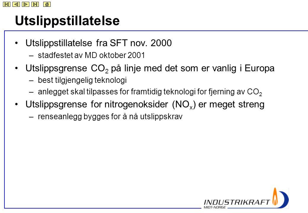 Utslippstillatelse •Utslippstillatelse fra SFT nov. 2000 –stadfestet av MD oktober 2001 •Utslippsgrense CO 2 på linje med det som er vanlig i Europa –