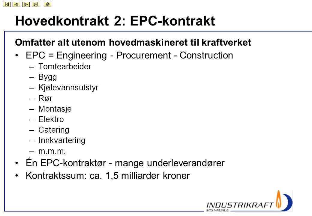 Hovedkontrakt 2: EPC-kontrakt Omfatter alt utenom hovedmaskineret til kraftverket •EPC = Engineering - Procurement - Construction –Tomtearbeider –Bygg