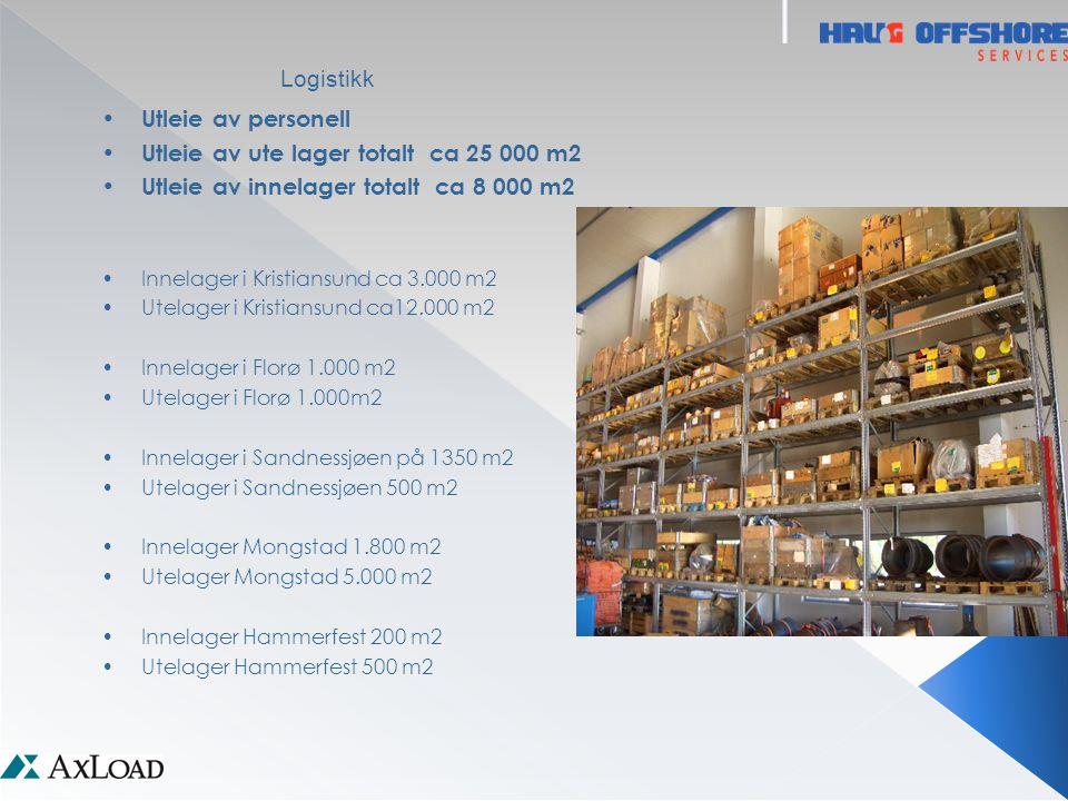 Logistikk • Utleie av personell • Utleie av ute lager totalt ca 25 000 m2 • Utleie av innelager totalt ca 8 000 m2 •Innelager i Kristiansund ca 3.000