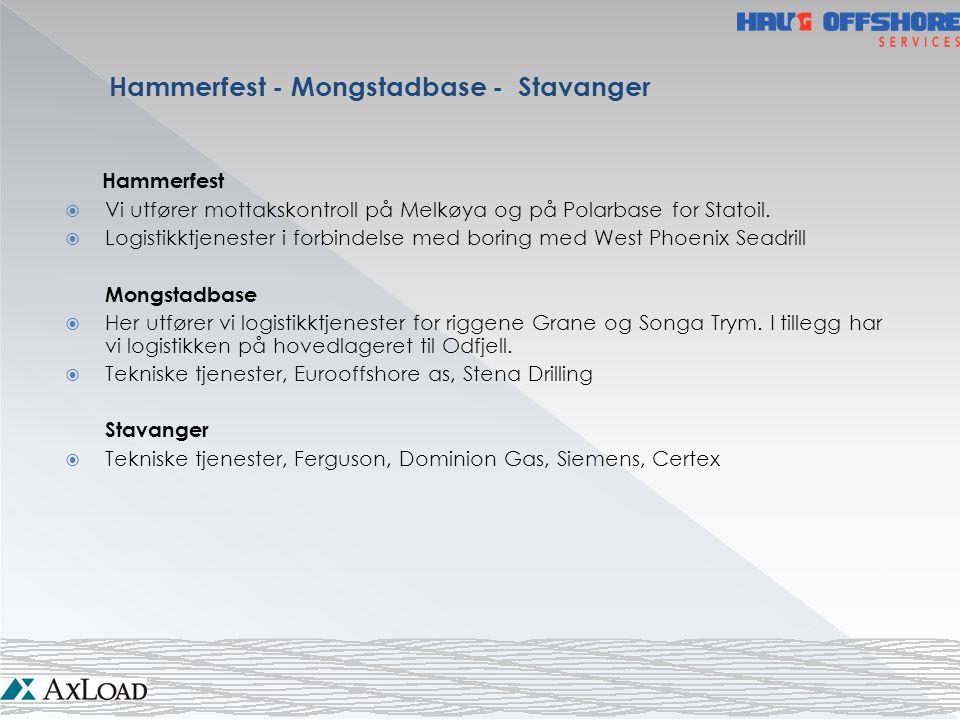 Hammerfest  Vi utfører mottakskontroll på Melkøya og på Polarbase for Statoil.  Logistikktjenester i forbindelse med boring med West Phoenix Seadril
