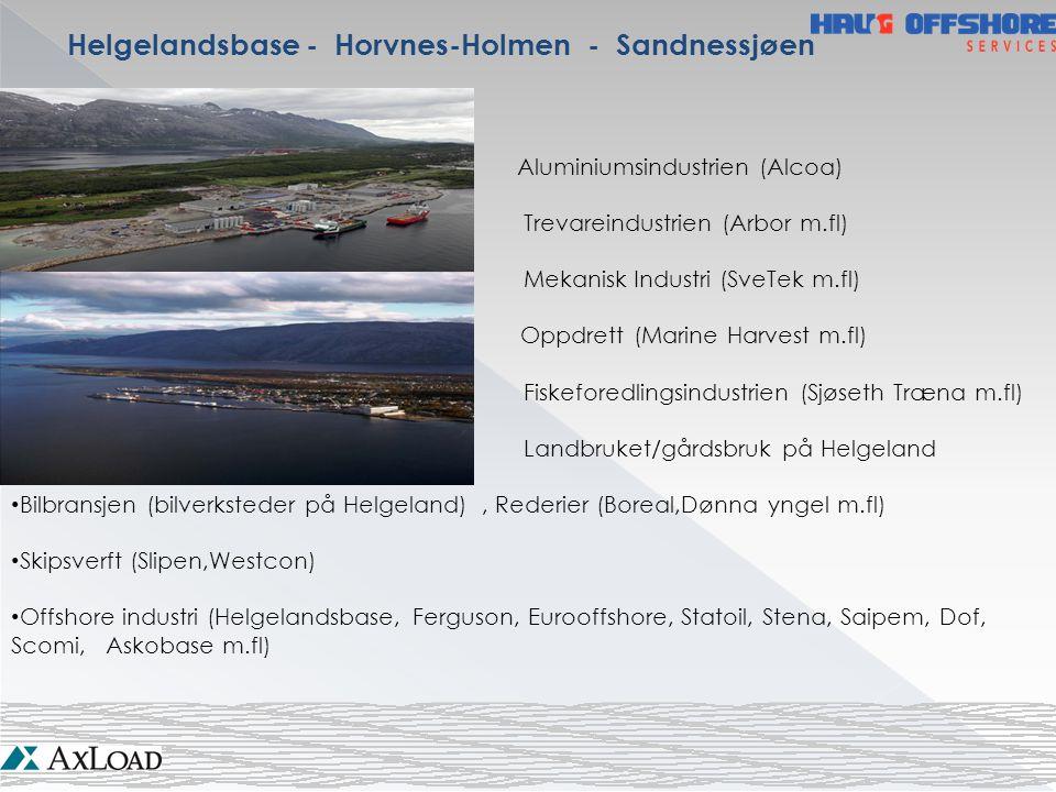 Helgelandsbase - Horvnes-Holmen - Sandnessjøen Aluminiumsindustrien (Alcoa) Trevareindustrien (Arbor m.fl) Mekanisk Industri (SveTek m.fl) Oppdrett (M