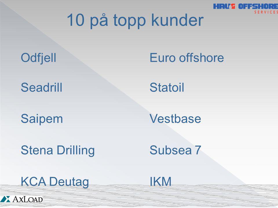 10 på topp kunder OdfjellEuro offshore SeadrillStatoil SaipemVestbase Stena DrillingSubsea 7 KCA DeutagIKM