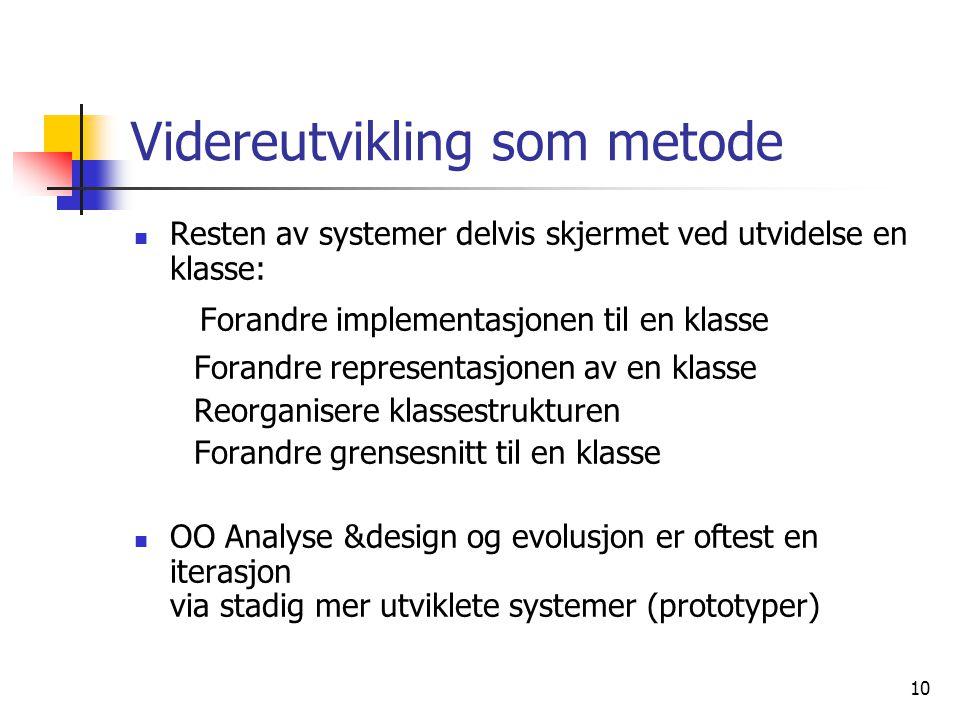 10 Videreutvikling som metode  Resten av systemer delvis skjermet ved utvidelse en klasse: Forandre implementasjonen til en klasse Forandre represent
