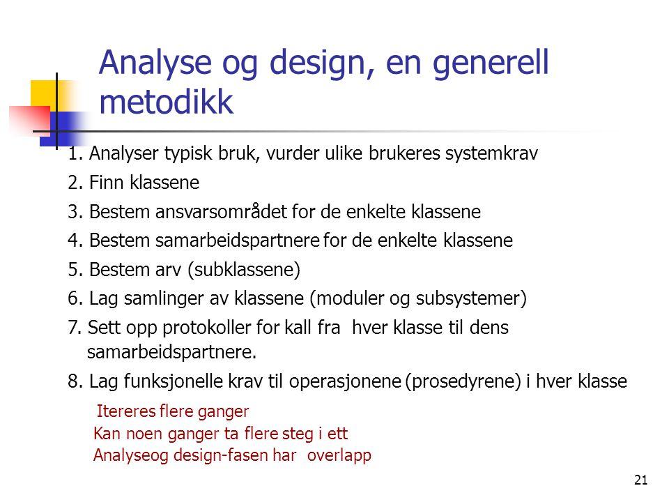 21 Analyse og design, en generell metodikk 1. Analyser typisk bruk, vurder ulike brukeres systemkrav 2. Finn klassene 3. Bestem ansvarsområdet for de
