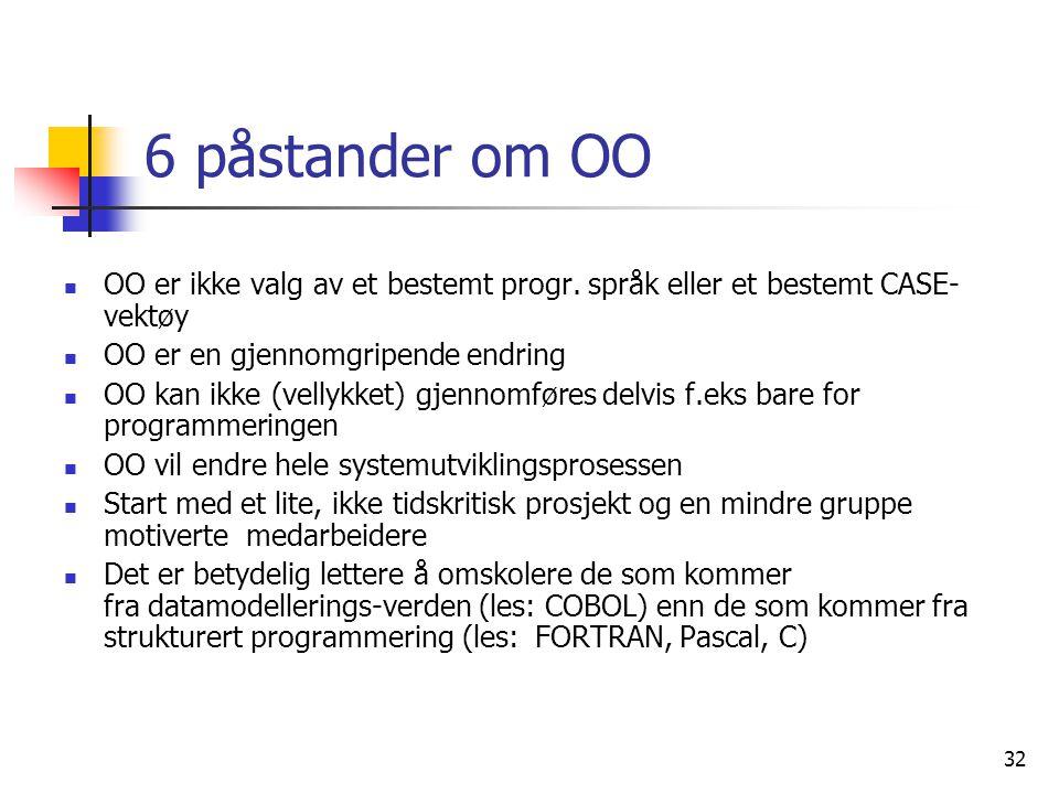 32 6 påstander om OO  OO er ikke valg av et bestemt progr. språk eller et bestemt CASE- vektøy  OO er en gjennomgripende endring  OO kan ikke (vell