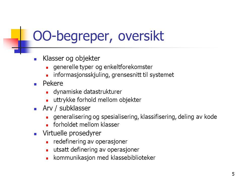 5 OO-begreper, oversikt  Klasser og objekter  generelle typer og enkeltforekomster  informasjonsskjuling, grensesnitt til systemet  Pekere  dynam