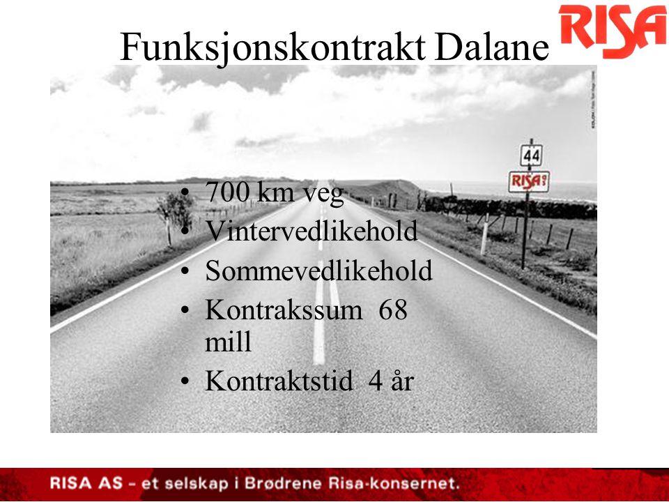 Funksjonskontrakt Dalane •32 snøploger •4 saltapparat •5 strøapparat •Lastebil •Hjullaster m.spesialutstyr •Totalt investering 12 millioner Utstyr