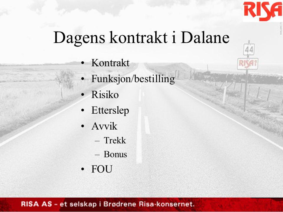 Dagens kontrakt i Dalane •Kontrakt –Kontraktstid –Størrelse av kontrakt –Kontraktsinngåelse –Krav i kontrakt •Egne ansatte •Egenkapital •Tildelingskriterier