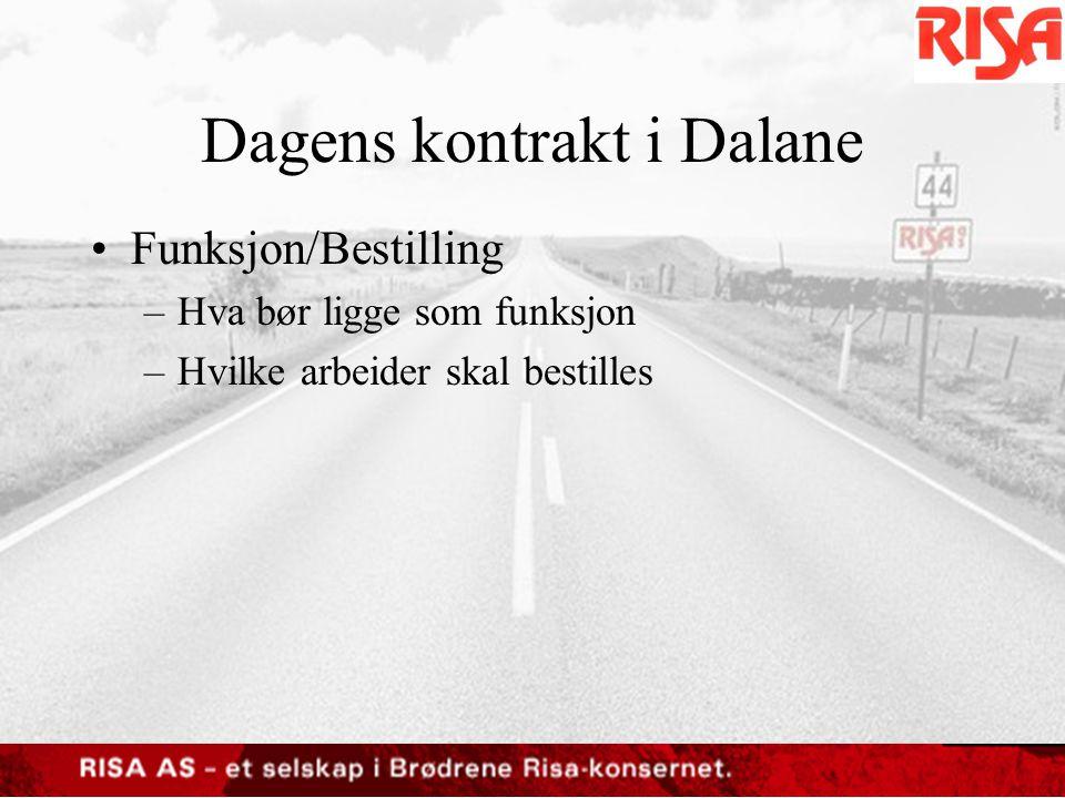 Dagens kontrakt i Dalane •Risiko –Vinter –Sommer –Egenandel