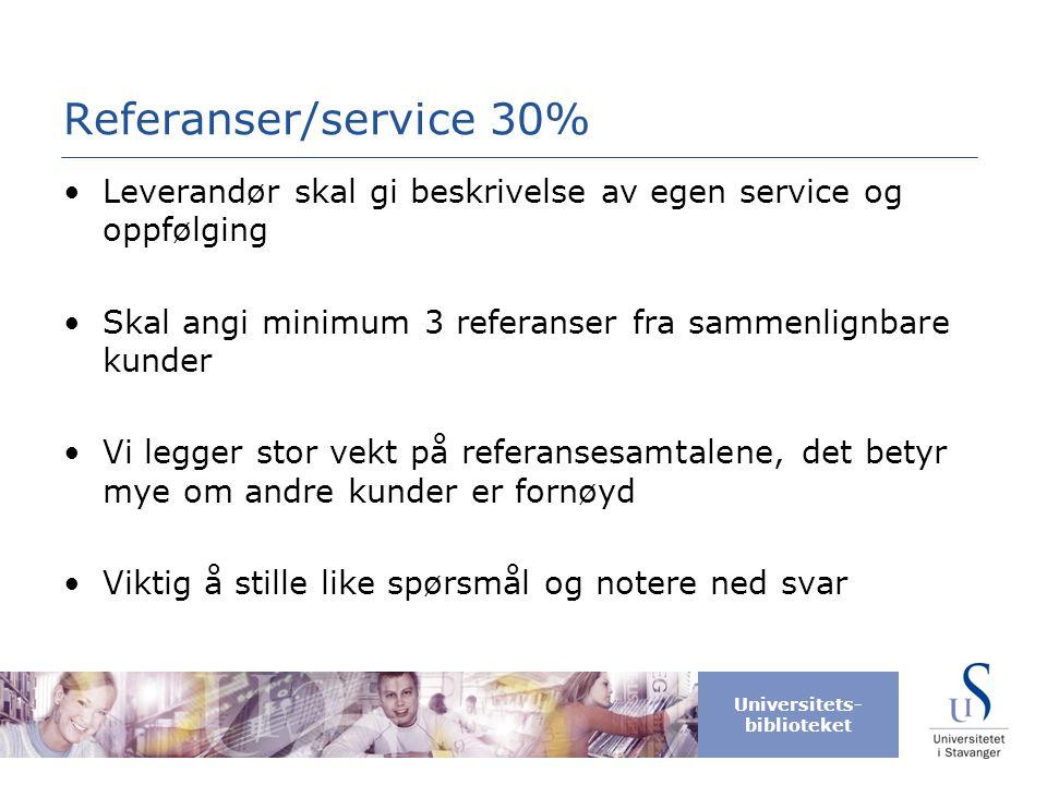 Universitets- biblioteket Referanser/service 30% •Leverandør skal gi beskrivelse av egen service og oppfølging •Skal angi minimum 3 referanser fra sam
