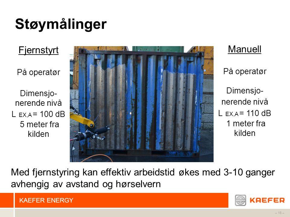 KAEFER ENERGY – 16 – Støymålinger Fjernstyrt På operatør Dimensjo- nerende nivå L EX,A = 100 dB 5 meter fra kilden Manuell På operatør Dimensjo- neren