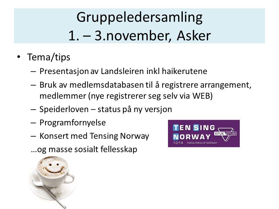 Gruppeledersamling 1. – 3.november, Asker • Tema/tips – Presentasjon av Landsleiren inkl haikerutene – Bruk av medlemsdatabasen til å registrere arran