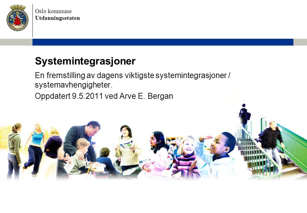 Oslo kommune Utdanningsetaten Systemintegrasjoner En fremstilling av dagens viktigste systemintegrasjoner / systemavhengigheter. Oppdatert 9.5.2011 ve