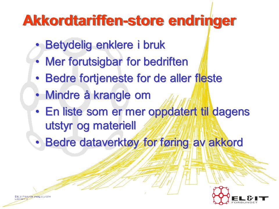 © EL & IT forbundet, onsdag, 2. juli 2014 Lysbilde nr.: 1 Akkordtariffen - 2006 Presentasjon av akkordtariffen etter tariffoppgjøret i 2006