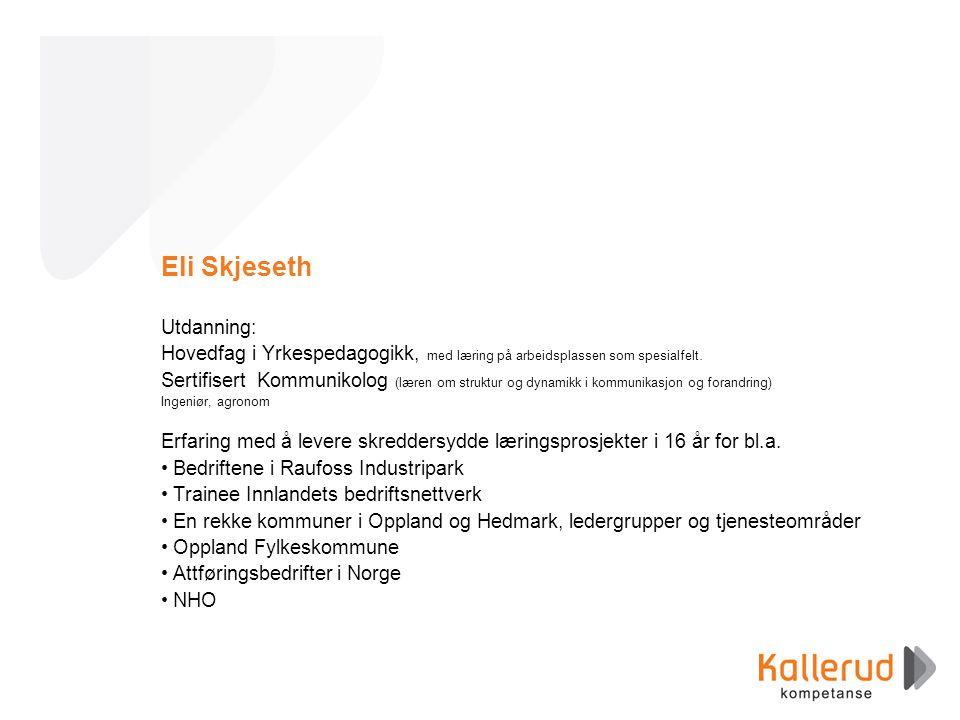 Eli Skjeseth Utdanning: Hovedfag i Yrkespedagogikk, med læring på arbeidsplassen som spesialfelt. Sertifisert Kommunikolog (læren om struktur og dynam