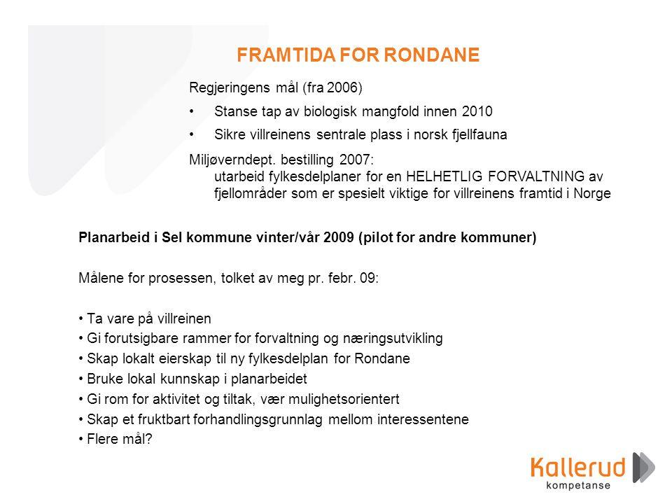 FRAMTIDA FOR RONDANE Planarbeid i Sel kommune vinter/vår 2009 (pilot for andre kommuner) Målene for prosessen, tolket av meg pr. febr. 09: •Ta vare på