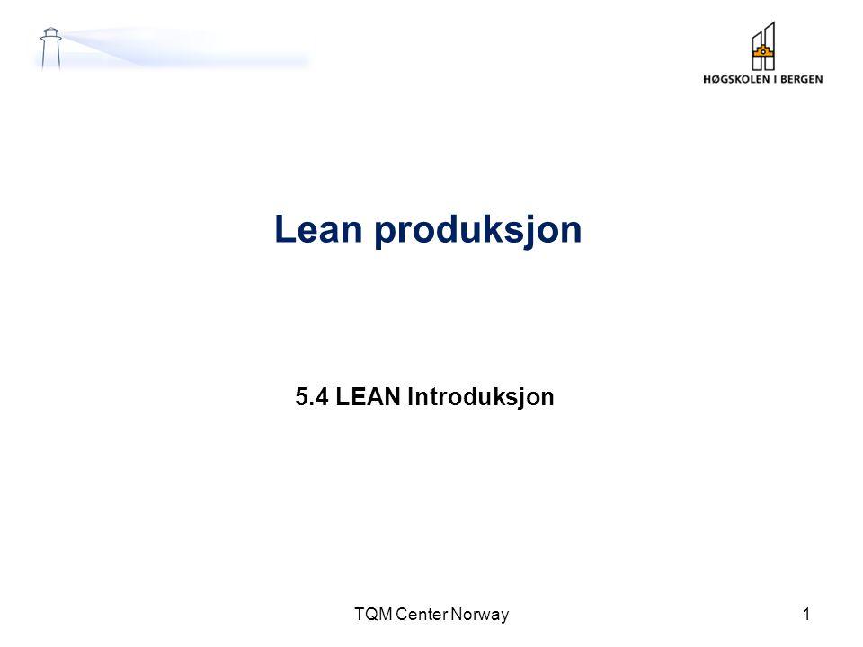 Innføring i fire faser TQM Center Norway 42 Beslutning Ståstedsanalyse Formål og mål Strategi Tid Styringsgruppe Strategisk Valg TURMAT 1 Strategisk Valg TURMAT 1 Forankring av lean TURMAT 2 Forankring av lean TURMAT 2 Innføring Fasthold og utvid Mål Involvering Måling Trening Læriongs- Prosjekter (5 S) Læringsprosjekter Trening Såredning Standardisering Kaizen Målinger Lean blir atferd Involvering: -Leverandører -Kunder.
