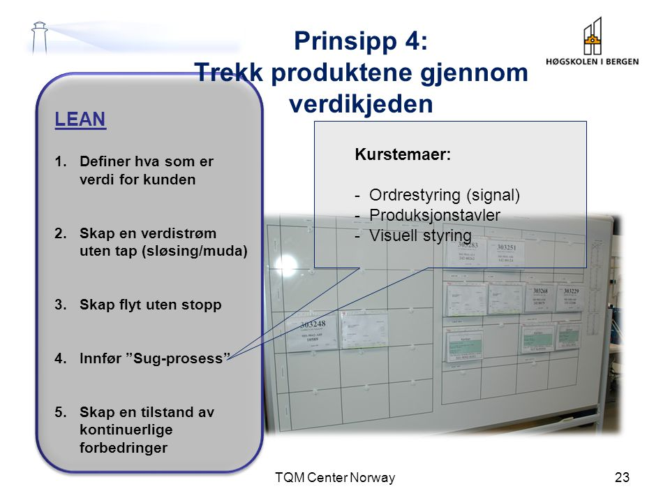 """LEAN 1.Definer hva som er verdi for kunden 2.Skap en verdistrøm uten tap (sløsing/muda) 3.Skap flyt uten stopp 4.Innfør """"Sug-prosess"""" 5.Skap en tilsta"""