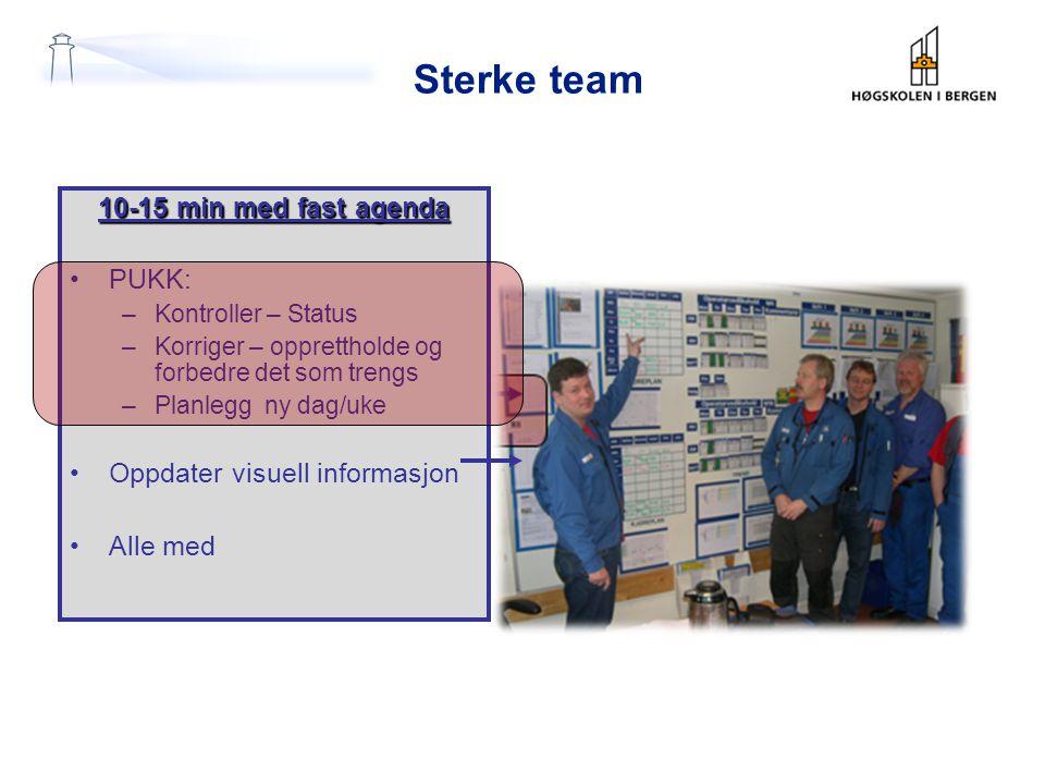 Sterke team 10-15 min med fast agenda •PUKK: –Kontroller – Status –Korriger – opprettholde og forbedre det som trengs –Planlegg ny dag/uke •Oppdater v