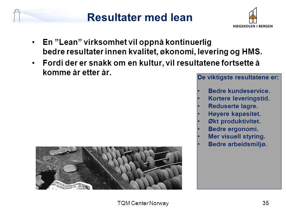 """Resultater med lean •En """"Lean"""" virksomhet vil oppnå kontinuerlig bedre resultater innen kvalitet, økonomi, levering og HMS. •Fordi der er snakk om en"""